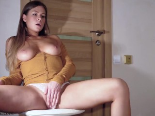 Babe with Big Boobs Masturbate Pussy and Cum - Hot Amateur and Mirror