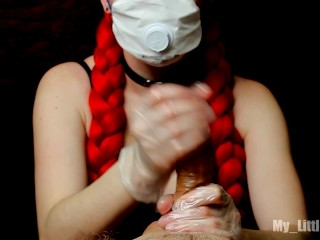 COVID-19. Safe handjob. The nurse emptied my balls