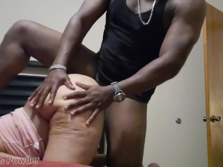 Thug banging thot back out with his foot on her head loud moans pussy farts