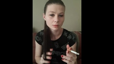 Sfw smoking and playing with hair black shirt