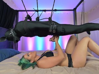 Rope suspension – Femdom milking and denial with handjob and blowjob tease