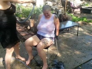 BDSM Slave Punished By Castratta, Her Head is Shaved and She Gets the Hose