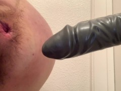 BBW Ruins Asshole With HUGE Dildo and Spews Piss from Her CAVERNOUS Cunt