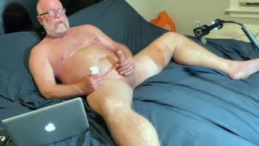 Older Muscular Bear Jack Off Session Big Dick Cumshot Solo Masturbation
