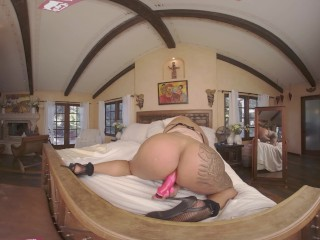 VRB TRANS Latin Redhead Maid Has A Break For Self Fucking VR Porn