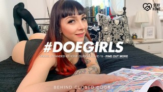 DoeGirls – Inked German Babe Leah Obscure Plays With Her Dildo Collection