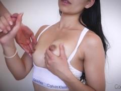 Stunning Amateur Brunette Titfuck & Cumshot On Her Perfect Natural Tits