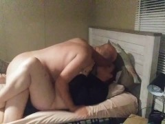 Husband fucks horny wife on her period and finishes on her stomach