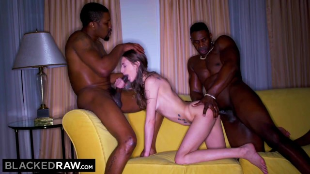 BLACKEDRAW Thirsty Brunette gets DP'd by two thick BBC's