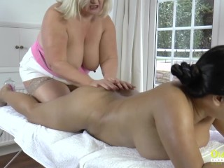 OldNannY Busty British Mature in Lesbian Action