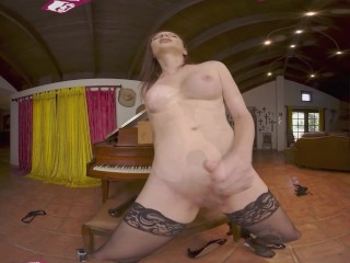 VRB TRANS Solo Piano Training with Huge Silicone Dildo VR Porn