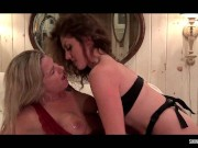 Amateurs Nikki and Mandy having fun with a strap on hairy milf porn