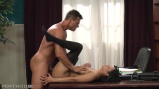 Exotic office babe Mary Jean bent over her desk and fucked doggy style deep