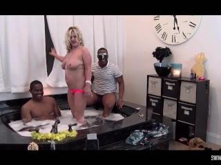 Interracial jacuzzi four some with hardcore blowjobs ebony bbw porn