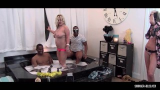 Interracial jacuzzi four some with hardcore blowjobs