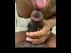 Sexy MILF Meets sons best friend in bathroom to give him sloppy blowjob