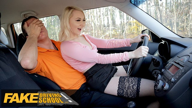 Fake boobs strip Fake driving school blonde marilyn sugar in black stockings sex in car