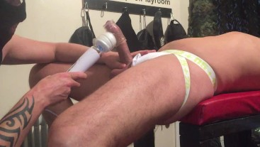 Bi lad trying Milker/Wand he nearly his camera with his load.