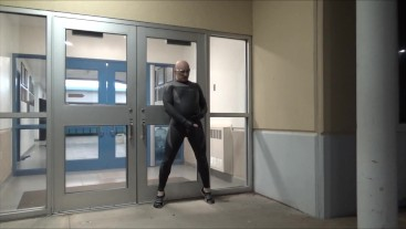 quick cum at doors of closed business, cleaning crew was inside not seen