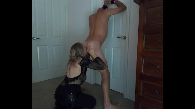 Bondage and s m vibrators Tied to the door sucked rimmed his ass then pegged him hard - min moo