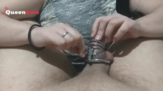 Release and draining day - precum and cumshot after 30 days in chastity