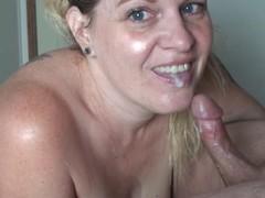 Closeup sloppy blowjob & throbbing oral creampie throatpie cumshot swallow