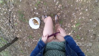 Innocent teen public play with pussy in the forest, masturbating outside