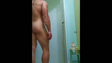 Muscle dildo sucked jerking off