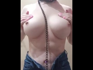 Flawless Teen Plays with Perfect Boobs ASMR BDSM Collar