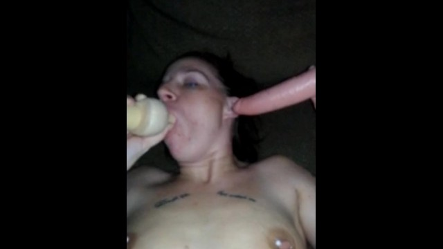 Wife sucks and deep throats two cock s while getting fucked by Daddy.
