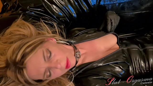 Celeste tranny blowjob Slut-orgasma celeste beautiful agony, real orgasm in black latex catsuit