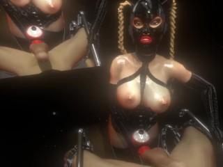 3D SFM VR Mistress fucks male slave with dildo, cums again multiple times