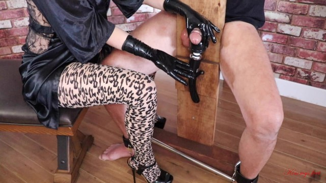 Free adult picture of bondage Femdom slave milking vibrator cock torture tied to bondage horse chair pot