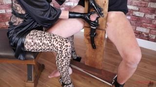 bondage chair femdom mistress milks slave' cock with hitachi stroker post orgasm torture