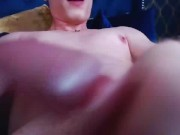 Gay guy strangling his big dick