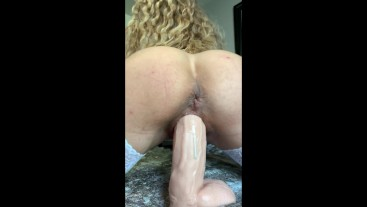 Blonde Wife Fucking Huge Dildos and Orgasms