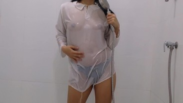 MariaClara - Cold Shower for Hot Petite Girl in Wet White School Uniform