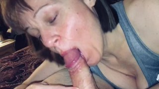 Mature older woman sloppy BJ with oral creampie
