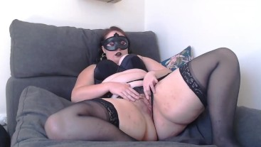 Exhibionist Goth Slut in Lingerie Dirty Talks and Cums Hard for Your Cock!