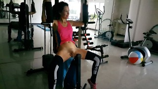 Risky NO PANTIES Exercises at PUBLIC Residential GYM # Naked GYM workout:)