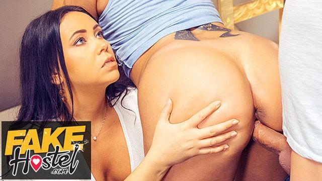 Fake tits big ass Fake hostel threesome with curvy big ass horny latina girls