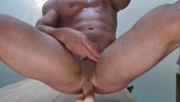 Muscle guy cumming buy dildo anal fuck
