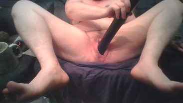 Bitch Having an Orgasm on HUGE Black Dildo Stretching Her Pussy and Tits