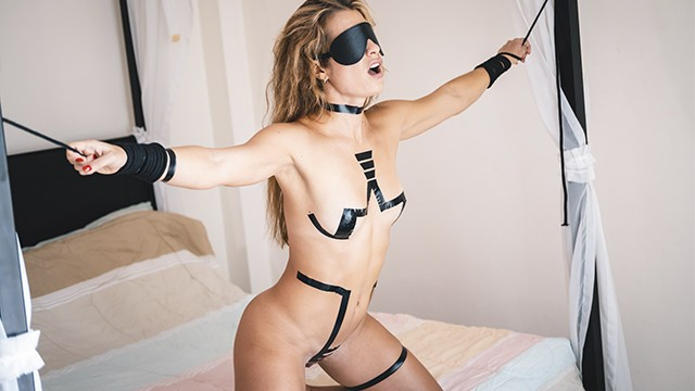 Teen striping then fucked Tied up slave gets slapped punished hard then fucked rough by her master