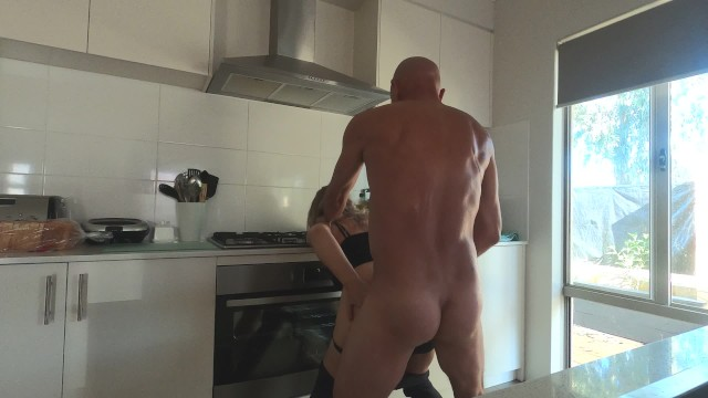 Reheating cooked chicken breast Cooking up a cum facial with hard strapon kitchen fuck - min moo