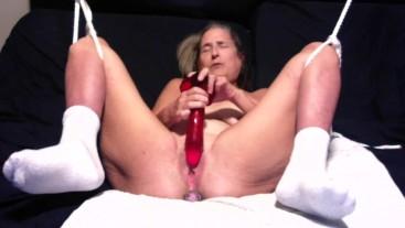 Mom Plays With A Big Dildo Milf Dad Jacks Off On Her Chest Cumshot