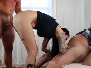 Brooke Lyn (DSC6-1) 3some Spitroast Blowjob Deepthroat Doggystyle Creampie