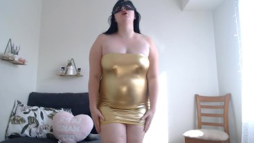 Tight Gold Latex Dress - Stripping and Teasing GFE with G-string Panties