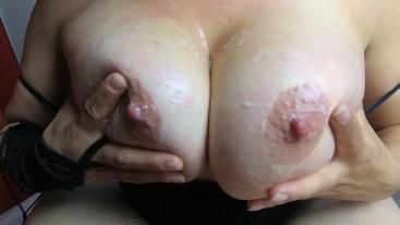 BoobiesurpriseAddict carress her body, titfuck, suck dick and swallow cum!