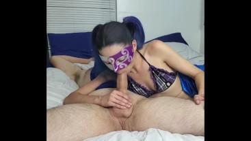 Petite Masked Wife Shows Off Cock Sucking Skills!